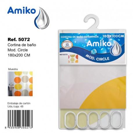 Cortina de Baño Estampada 180x200cm Modelo Circle Amiko