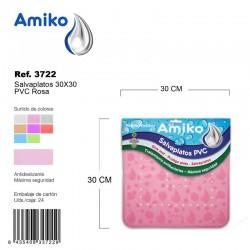 Salvaplatos PVC Translucido Circular 30cm Rosa Amiko