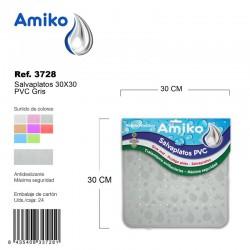 Salvaplatos PVC Translucido Circular 30cm Gris Amiko