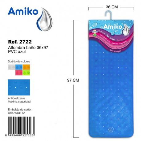 Alfombra Baño PVC Translucido 36x97cm Transparente Amiko