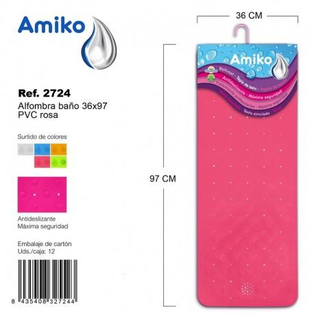 Alfombra Baño PVC Translucido 36x97cm Rosa Amiko