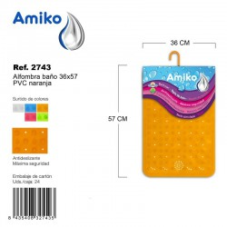 Alfombra Baño PVC Translucido 36x57cm Azul Amiko