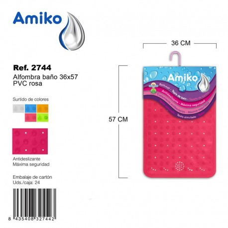 Alfombra Baño PVC Translucido 36x57cm Naranja Amiko