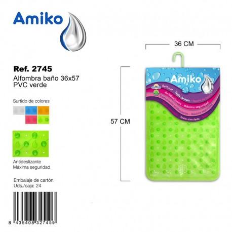 Alfombra Baño PVC Translucido 36x57cm Verde Amiko