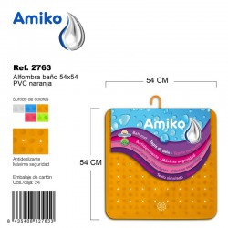Alfombra Baño PVC Translucido 54x54cm Azul Amiko