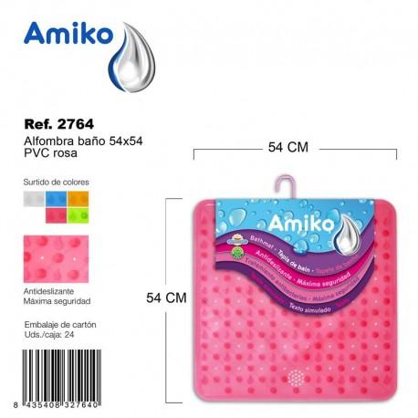 Alfombra Baño PVC Translucido 54x54cm Naranja Amiko