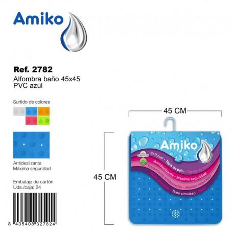Alfombra Baño PVC Translucido 45x45cm Azul Amiko