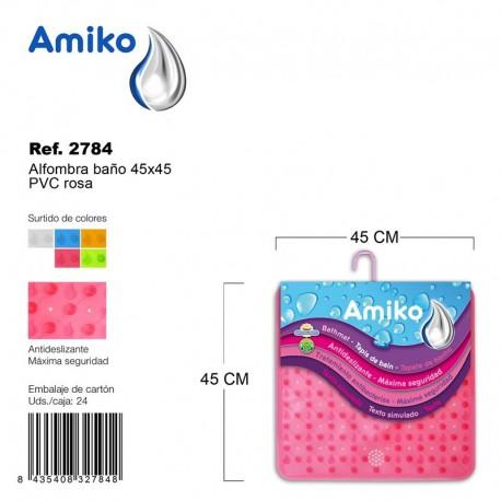 Alfombra Baño PVC Translucido 45x45cm Naranja Amiko