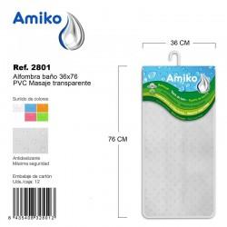 Alfombra Baño PVC Translucido 45x45cm Verde Amiko