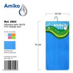 Alfombra Baño PVC Masaje 36x76cm Transparente Amiko