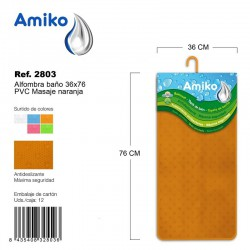 Alfombra Baño PVC Masaje 36x76cm Azul Amiko