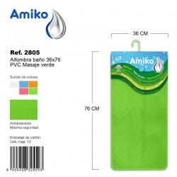 Alfombra Baño PVC Masaje 36x76cm Rosa Amiko