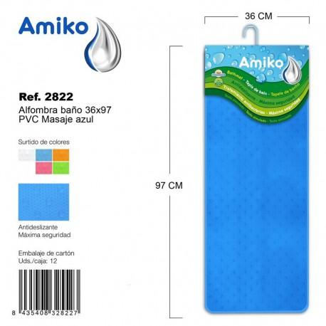 Alfombra Baño PVC Masaje 36x97cm Transparente Amiko