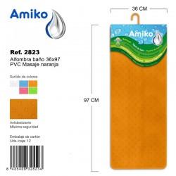 Alfombra Baño PVC Masaje 36x97cm Azul Amiko