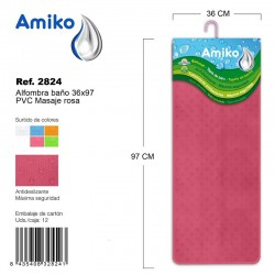 Alfombra Baño PVC Masaje 36x97cm Naranja Amiko