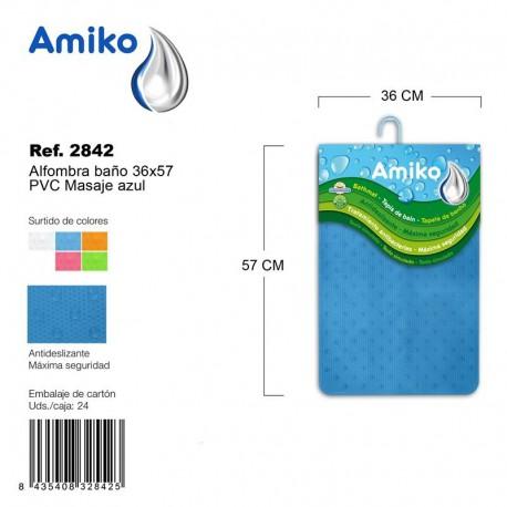 Alfombra Baño PVC Masaje 36x57cm Transparente Amiko