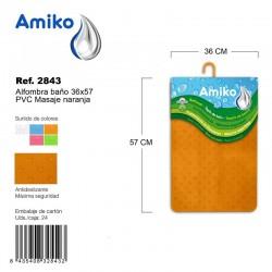 Alfombra Baño PVC Masaje 36x57cm Azul Amiko
