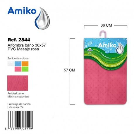 Alfombra Baño PVC Masaje 36x57cm Rosa Amiko