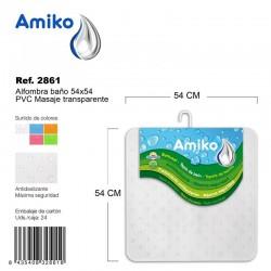 Alfombra Baño PVC Masaje 36x57cm Verde Amiko
