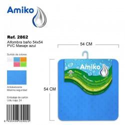 Alfombra Baño PVC Masaje 54x54cm Azul Amiko