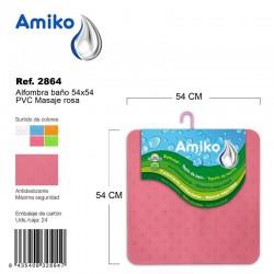 Alfombra Baño PVC Masaje 54x54cm Naranja Amiko