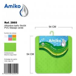 Alfombra Baño PVC Masaje 54x54cm Verde Amiko
