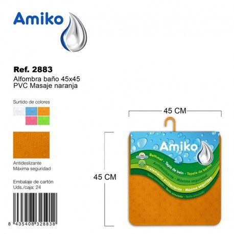 Alfombra Baño PVC Masaje 45x45cm Azul Amiko