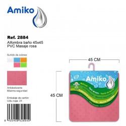 Alfombra Baño PVC Masaje 45x45cm Naranja Amiko