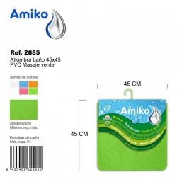 Alfombra Baño PVC Masaje 45x45cm Verde Amiko