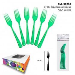 """Set 6 Tenedores de Mesa """"QQ"""" Verdes SINI"""