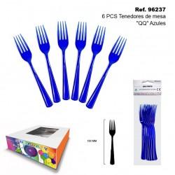 "Set 6 Tenedores de Mesa ""QQ"" Azules SINI"