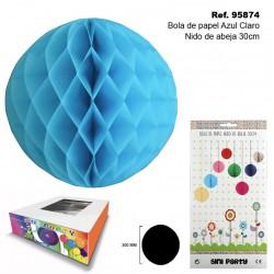 Bola de Papel Azul Claro 30cm con Forma de Panel de Abeja SINI