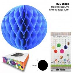 Bola de Papel Añil 50cm con Forma de Panel de Abeja SINI