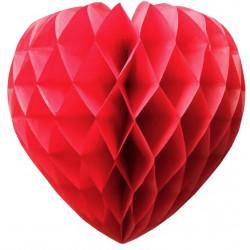 Bola de Papel Roja 50cm con Forma de Panel de Abeja