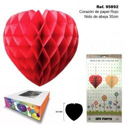 Bola de Papel Roja 50cm con Forma de Panel de Abeja SINI