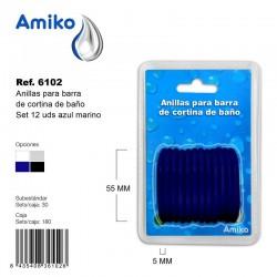 Anillas para Barra de Cortina de Baño Set 12 Unidades Azul Marino Amiko