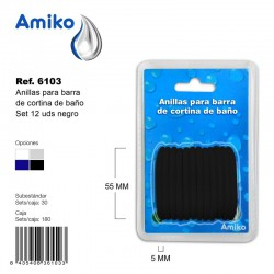 Anillas para Barra de Cortina de Baño Set 12 Unidades Negro Amiko