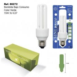 Bombilla de Bajo Consumo Color Verde 15W 3U E27 SINI