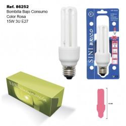 Bombilla de Bajo Consumo Color Rosa 15W 3U E27 SINI