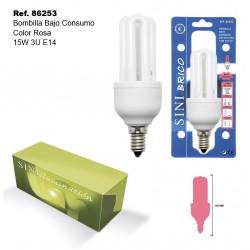 Bombilla de Bajo Consumo Color Rosa 15W 3U E14 SINI