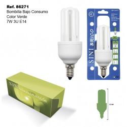 Bombilla de Bajo Consumo Color Verde 7W 3U E14 SINI