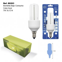 Bombilla de Bajo Consumo Color Azul 15W 3U E14 SINI