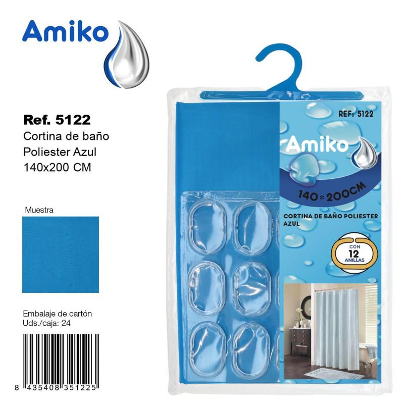 Cortinas De Baño Azul: Cortinas de Baño > Cortina de Baño Poliester 140x200cm Azul Amiko