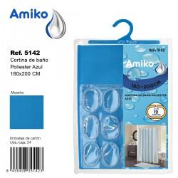 Cortina de Baño Poliester 180x200cm Azul Amiko