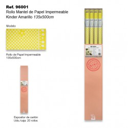 Rollo Mantel de Papel Impermeable 135x500cm Kinder Amarillo