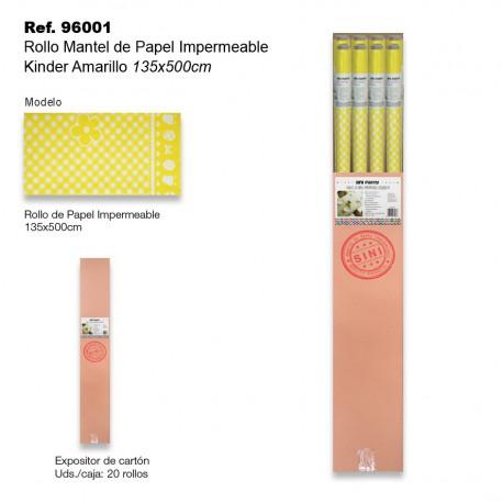 Rollo Mantel de Papel Impermeable 135x500cm Kinder Amarillo