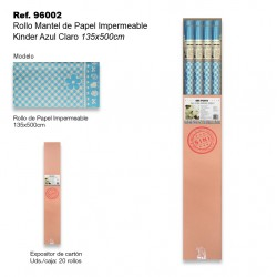 Rollo Mantel de Papel Impermeable 135x500cm Kinder Azul Claro SINI