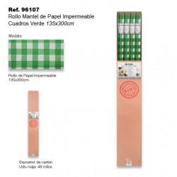 Rollo Mantel de Papel Impermeable 135x300cm Cuadros Verdes SINI