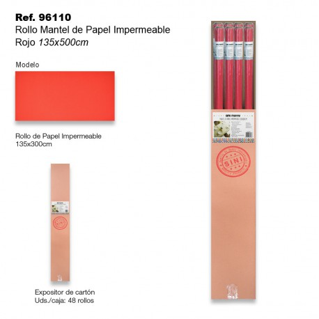 Rollo Mantel de Papel Impermeable 135x500cm Rojo SINI