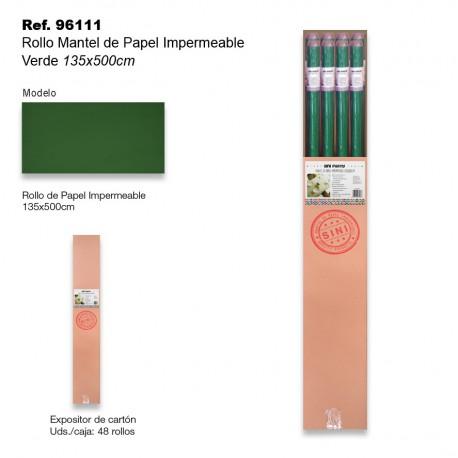 Rollo Mantel de Papel Impermeable 135x500cm Verde SINI